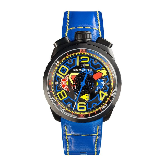 Bomberg - BOLT-68 Automatic Chronograph Watch Black PVD Blue Leather Strap + Medalion and Chain - BS47CHAPBA.041-3.3 - Hombre - Brand NEW