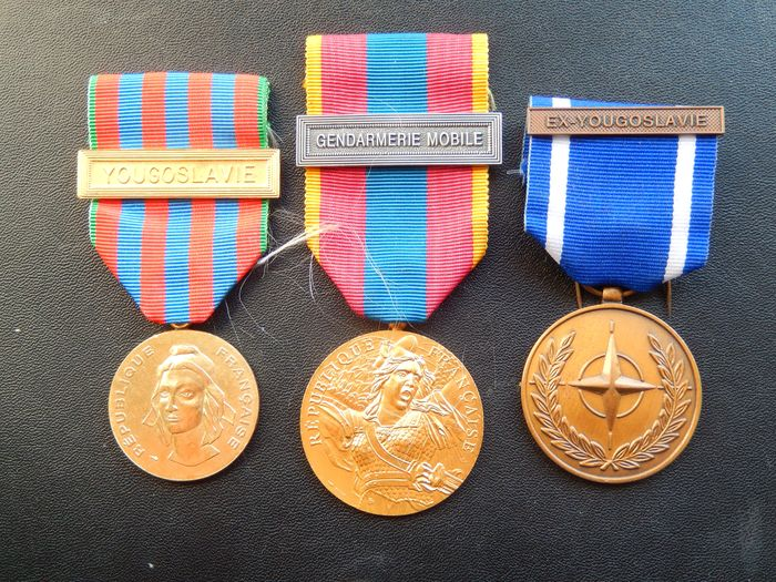 France - Lot 3 medals form Yugoslavia NATO (C12J) Elite reward - Medal - 1990