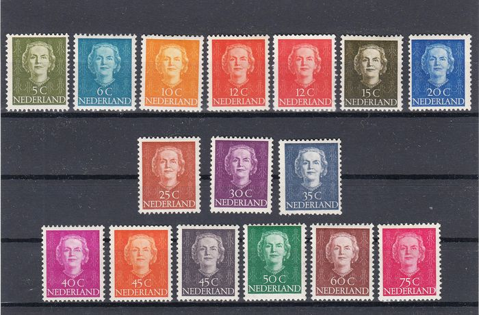 Netherlands 1949 - Queen Juliana 'en face' - NVPH 518/533