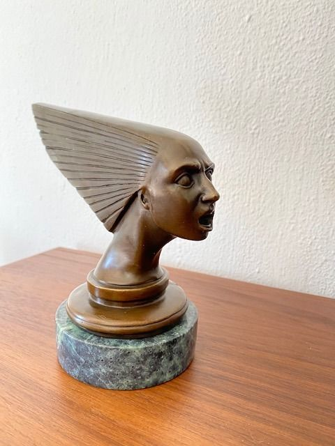 bronze sculpture bust statue art deco car mascot 'spirit of the wind' victoire after a design by - lalique - After 2000