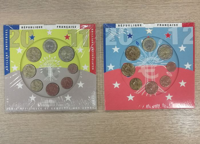 France - Yearsets Eurocoins 2011 , 2012 ( 2 sets )