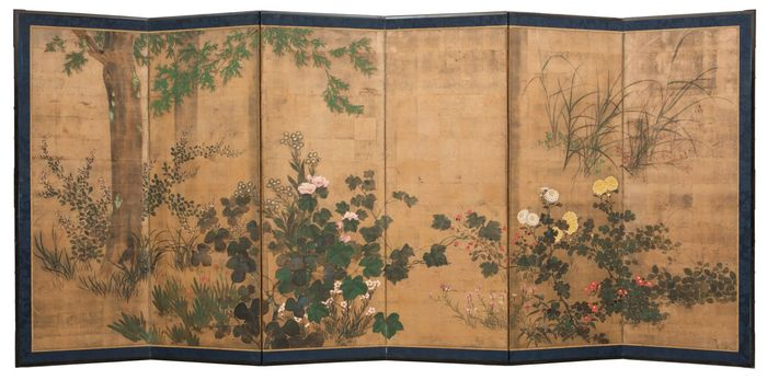Byobu, Folding screen - silk on goldleaf - elegant 6 panel roomdivider with a subdued, but also expressive floral Rinpa style painting. - Japan - Meiji period (1868-1912)