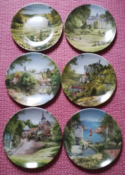 Limoges D'Arceau France  Set of 6 collector plates-French Country Landscapes - plate (6) - Porcelain