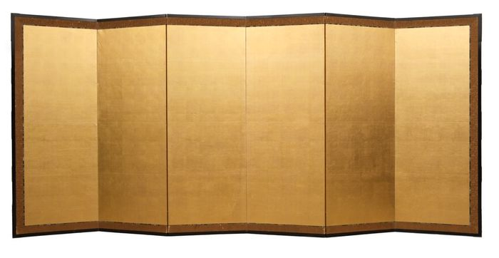Byobu, Folding screen - goldleaf paper - 6 Panel goldleaf roomdivider with brocade border. About 100 - 120 years old, Late Meiji - Taisho - Japan - Late Meiji -Taisho period
