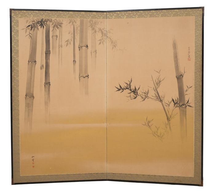 Byobu, Folding screen - Paper - 2 panel sumié ink painting with a subtle painting of bamboo trees against a hazy goldish background - Japan - Meiji - Taisho period