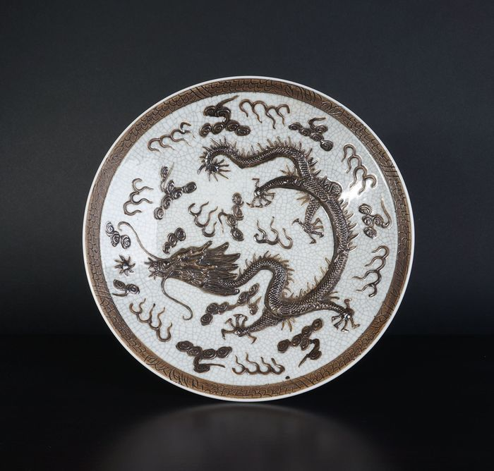 Large Nanking crackle dragon bowl (1) - Porcelain - China - 19th century