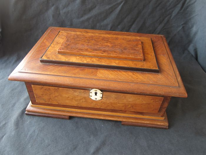 Table Box, burr walnut and noble woods - Burr walnut, Kingwood - Late 19th century