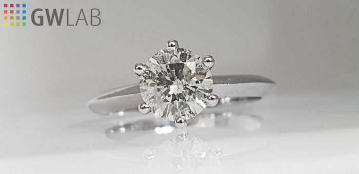 14 kt. White gold - Ring - Clarity enhanced 1.04 ct Diamond - No Reserve