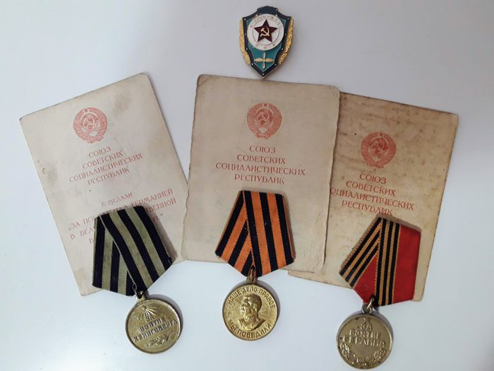 Soviet Union - Medals for the Heroic assault on Berlin and Kennigsberg and For Victory over Germany 1943-1945 with - 1945