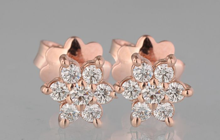 14 kt. Pink gold - Earrings - 0.40 ct Diamond