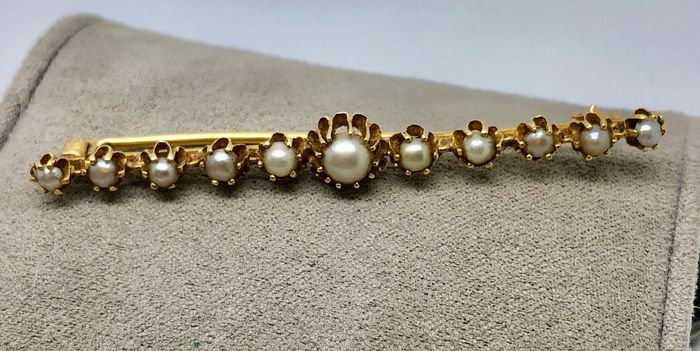 "18 kt. Yellow gold - Brooch Barrette 1920s ""no reserve price"" Pearl"