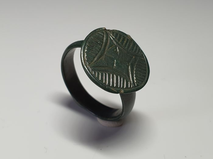 Medieval Bronze Ring with Large Bezel