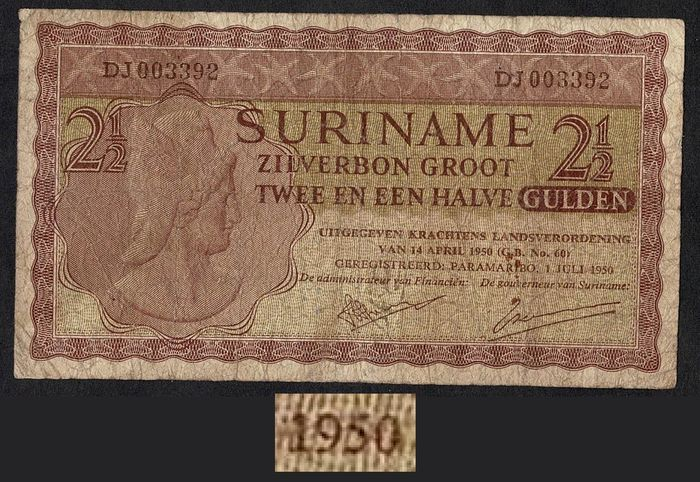 Suriname - 2½ Gulden 1950 Zilverbon - Rare First Year - Pick 109 / PLS 14.2.a