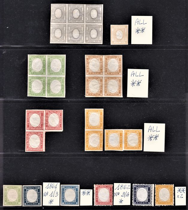 Italien 1861/1863 - Kingdom selection of the period also in blocks of 2-3-4-6 pieces