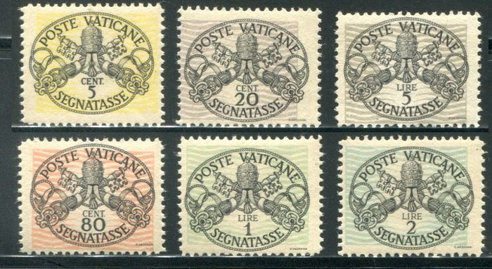 Vatikanstadt 1946 - Postage-due stamps with wide lines and white paper, 6 values - Sassone NN. 13/18