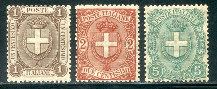 Italien 1896 - Savoy coat of arms set of 3 values - Sassone 65/67