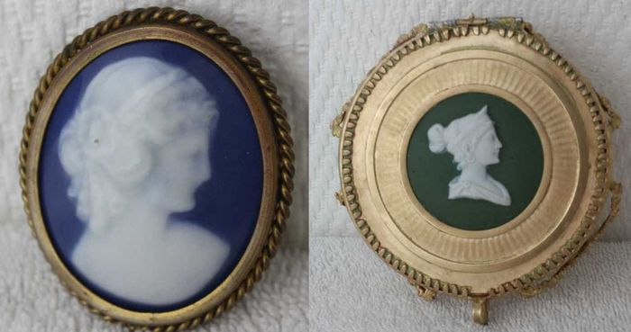 Bronze frame with 19 th cameo and large porcelain brooch cameo - Bronze, Porcelain