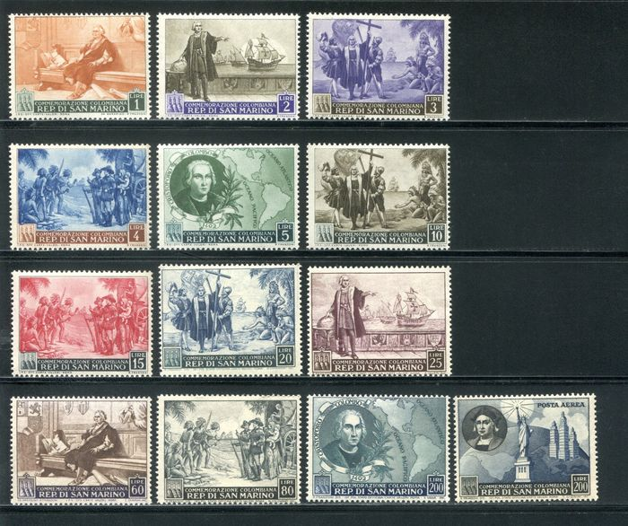 San Marino 1952 - Columbus complete set of 13 values, regular mail + airmail - Sassone NN. 372/383 + A101