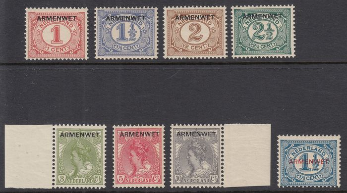 Netherlands 1913 - Official stamps with the overprint 'Armenwet' - NVPH D1/D8
