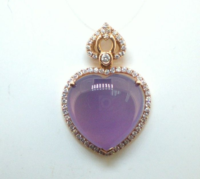 18 kt. Pink gold - Pendant - 10.47 ct Purple Chalcedony - Diamond
