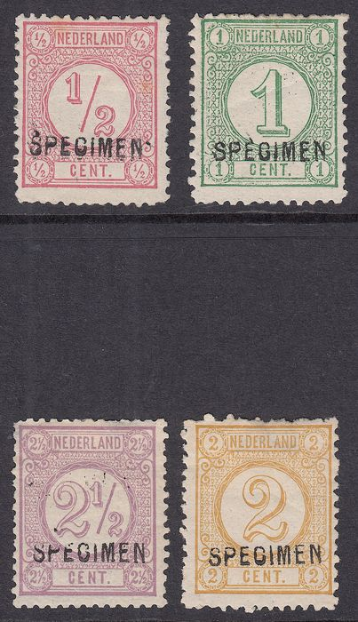 Pays-Bas 1876 - Printing stamps (old print), with hand-cancellation SPECIMEN - NVPH 30/33