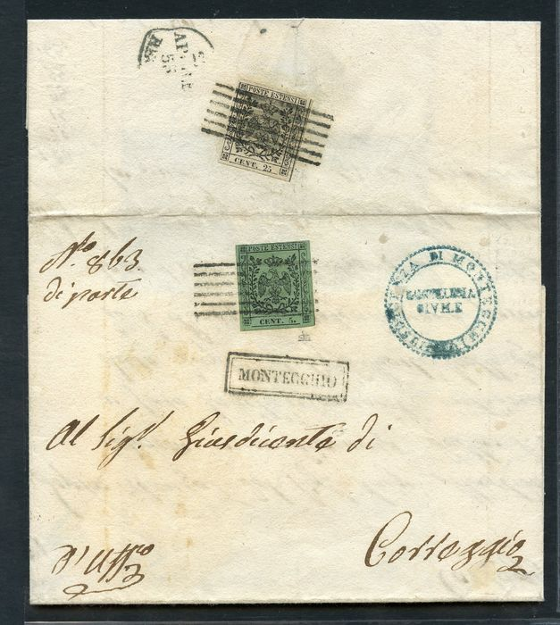 Italienische antike Staaten - Modena 1855 - 25 c. suede and 5 c. olive green on letter from Montecchio to Correggio - Sassone N. 8 - 4