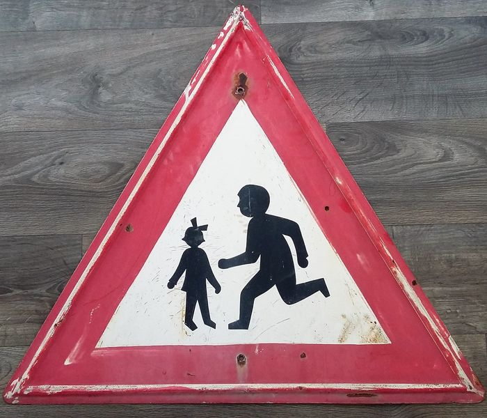 RARE large iron road sign traffic sign triangle PLAYING CHILDREN - De Stijl - Metal, iron