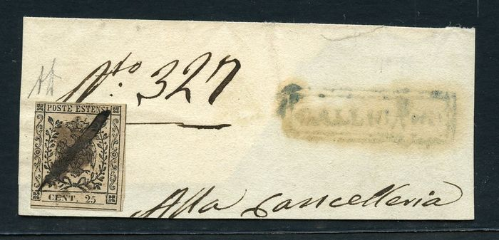 Italienische antike Staaten - Modena 1855 - 25 c. suede without dot on front from Gallicano - Sassone N. 4