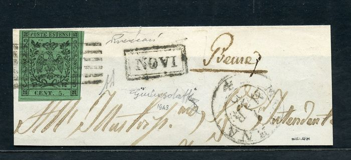Italienische antike Staaten - Modena 1852 - 5 c. green with dot and without dot on two fragments - Sassone NN. 1 - 7