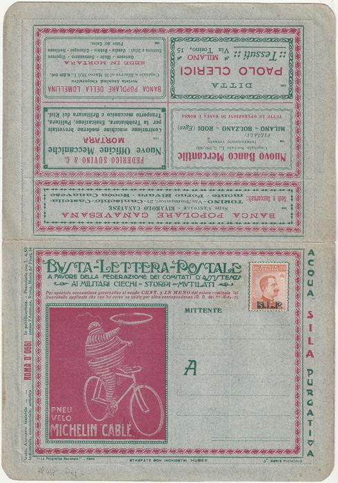 Königreich Italien 1922/23 - B.L.P. 20 cents 2nd type on complete letter envelope with internal sheet. - Sassone N.7