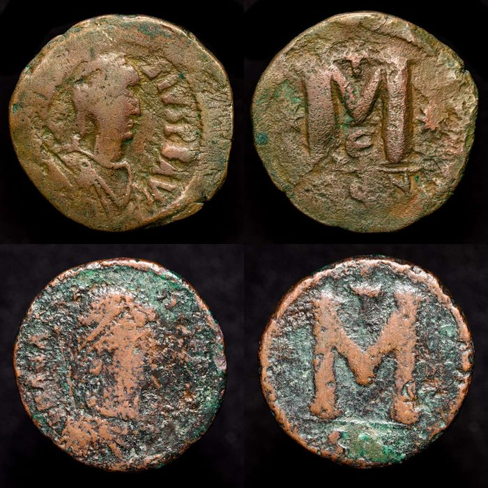Byzantinisches Reich - Lote comprising two Folles, Anastasius I (491-518 A.D.). Constantinople mint - Bronze
