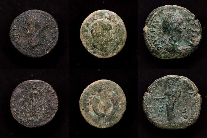 Roman Empire - Lot comprising three coins : As, Dupondius and Sestertius - Nero (54-68 A.D.) - Vespasian (AD 69-79) - Diva Faustina (+141 A.D.) - Bronze