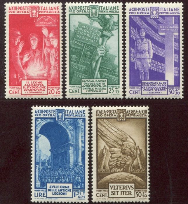 Italien Königreich 1934 - Militia 4th issue set of 5 values, regular mail + airmail - Sassone 380/383 + A89