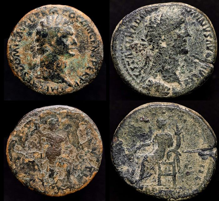 Römisches Reich - Lot comprising two coins: As and Sestertius - Domitian (81-96 A.D.) and Antoninus Pius (138 - 161 A.D.) - Bronze
