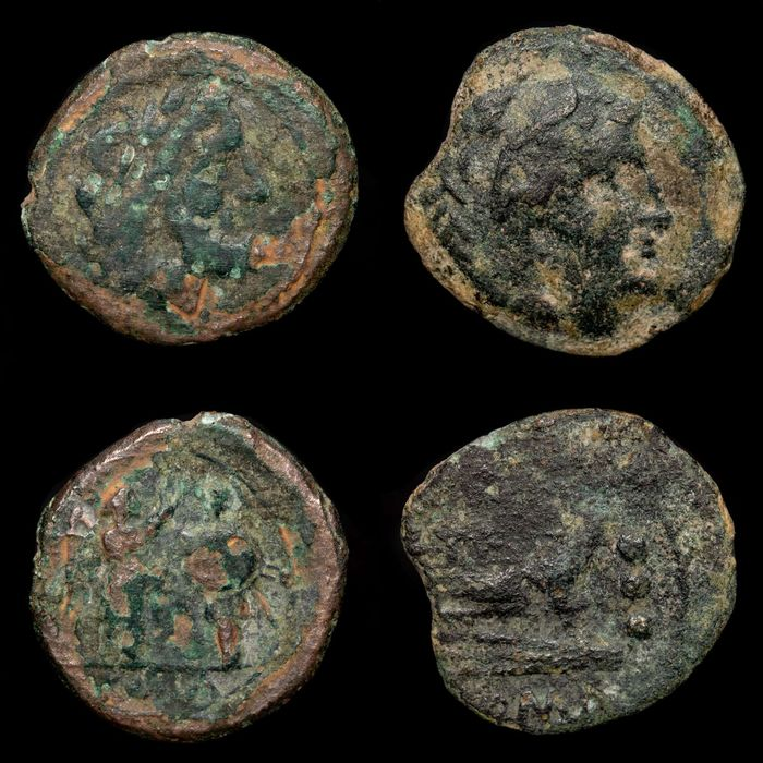 Római Köztársaság - Lot of two (2) coins: Fouree Anonymous Victoriatus and Anonymous 130 BC. AE Quadrans - Bronz