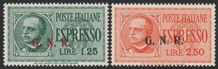 Republikanische Nationalgarde 1944 - Express stamps, Brescia issue of the 3rd type, complete set with variety, certified - Sassone S.1804b - NN.19/III+20/IIIi