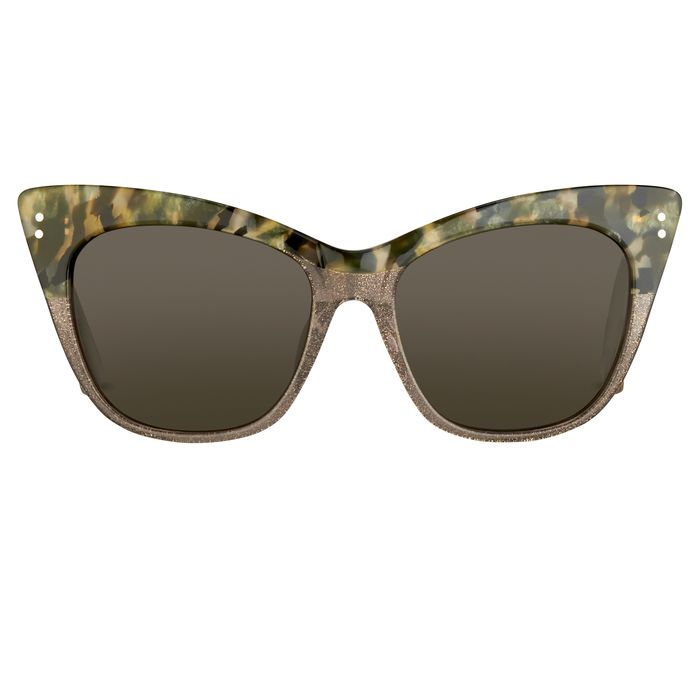 """Erdem - Cat Eye Marble Grey Glitter Silver with Grey Lenses Category 3 EDM22C3SUN""""NO RESERVE PRICE"""" Sunglasses"""