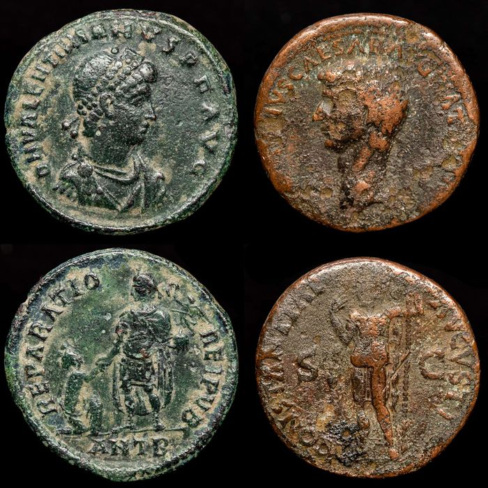 Roman Empire - Lot comprising two AE coins: As, Claudius I (41-54 AD) / AE23, Valentinianus I (364-375 AD) - Bronse