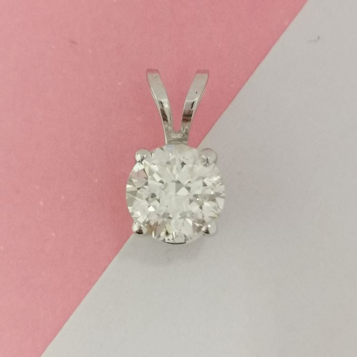 14 kt. White gold - Necklace with pendant - 0.40 ct Diamond
