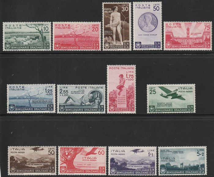 Königreich Italien 1936 - Horace complete set with airmail - Sassone S.86
