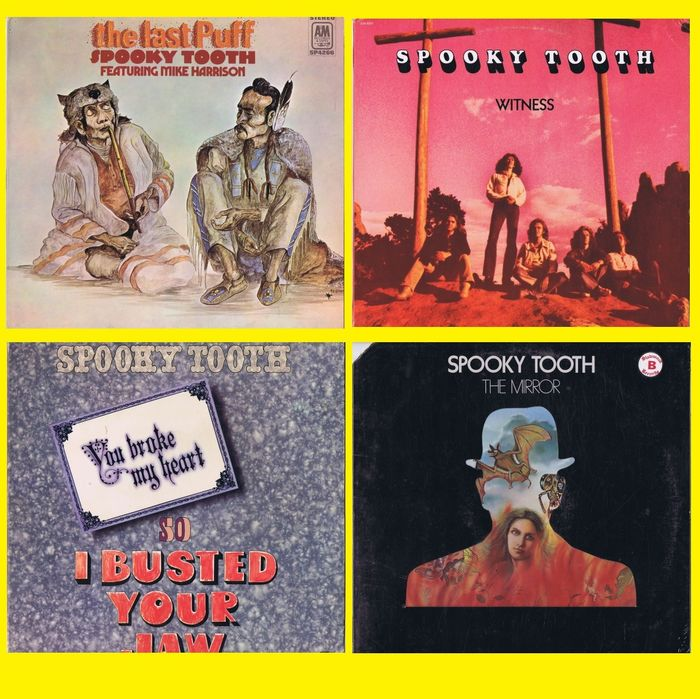 Spooky Tooth (Blues Rock, Prog Rock, Psychedelic Rock) 1. Featuring Mike Harrison - The Last Puff - 2. You Broke My Heart So I Busted Your Jaw 3. Witness 4. The Mirror - Multiple titles - (lot of 4 LPs) - 1970/1974