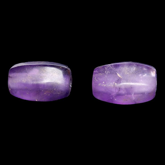 Western Asiatic Amethyst Oval Beads - (2)