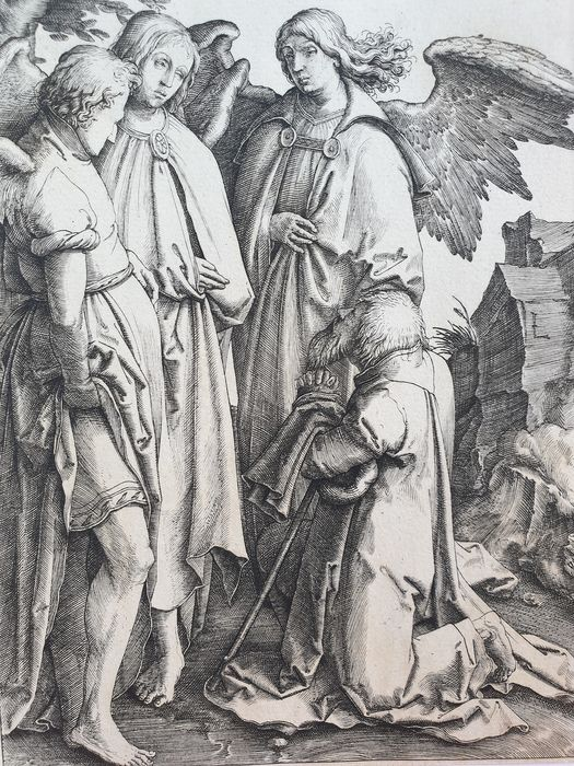 Lucas Van Leyden (1494-1533) - Abraham falls on his knees before the three angels