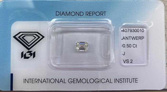 1 pcs Diamond - 0.50 ct - Emerald - J - VS2