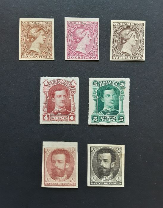 Spanien 1870/1880 - Amadeo, Alfonso XII and Queen Regent group of essays