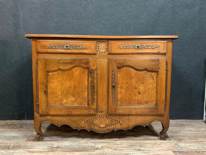 Bressan sideboard in walnut, elm and marquetry - Louis XV - Wood - Late 18th century