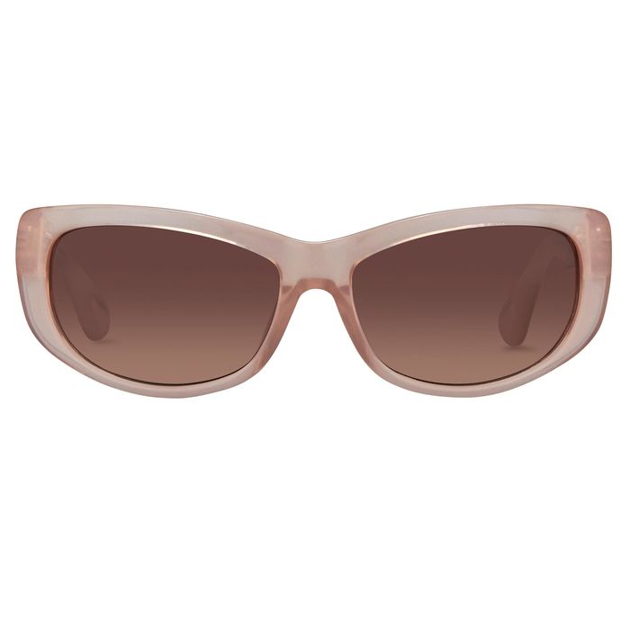 Ann Demeulemeester - Cat Eye Blush Pink 925 Silver with Brown Lenses AD29C5SUN Sunglasses
