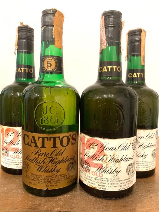 Catto 12 years old & 5 years old - b. 1970er Jahre - 75 cl - 4 flaschen