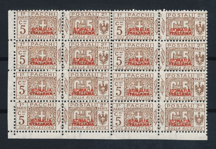 Italienisch-Somalia 1926 - Pacchi Postale in block of 8 MNH with certificate - Sassone 43