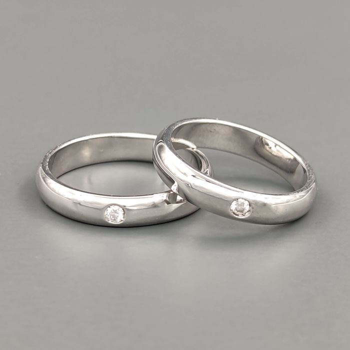 18 kt. White gold - Rings / Rings - 0.08 ct